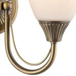 Haughton Traditional Switched Antique Brass Twin Wall Light Opal Glass