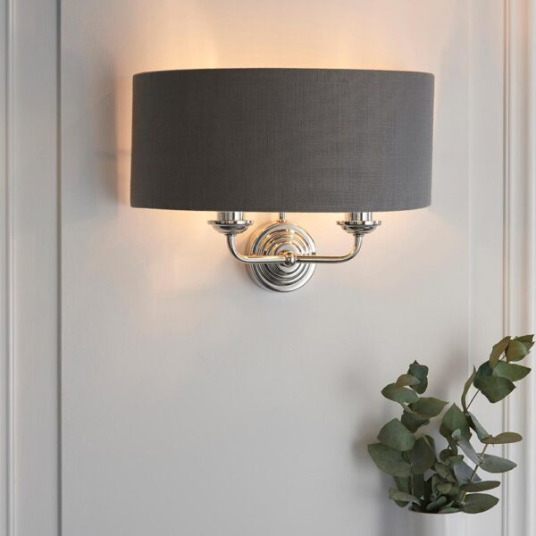 Endon Highclere 2 Lamp Twin Wall Light Charcoal Shade Polished Nickel