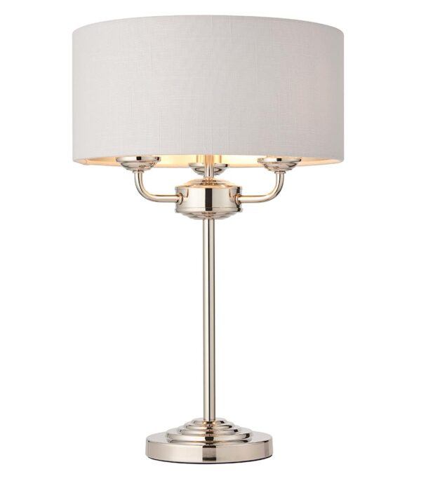 Endon Highclere 3 Light Table Lamp Silver Linen Shade Polished Nickel