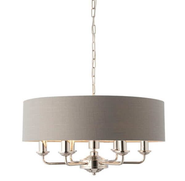 Endon Highclere 6 Light Ceiling Pendant Charcoal Shade Polished Nickel