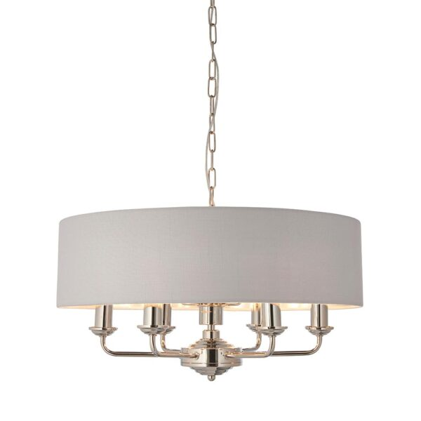 Endon Highclere 6 Light Ceiling Pendant Silver Shade Polished Nickel