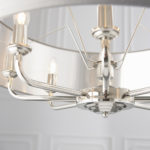 Endon Highclere 8 Light Ceiling Pendant Charcoal Shade Polished Nickel