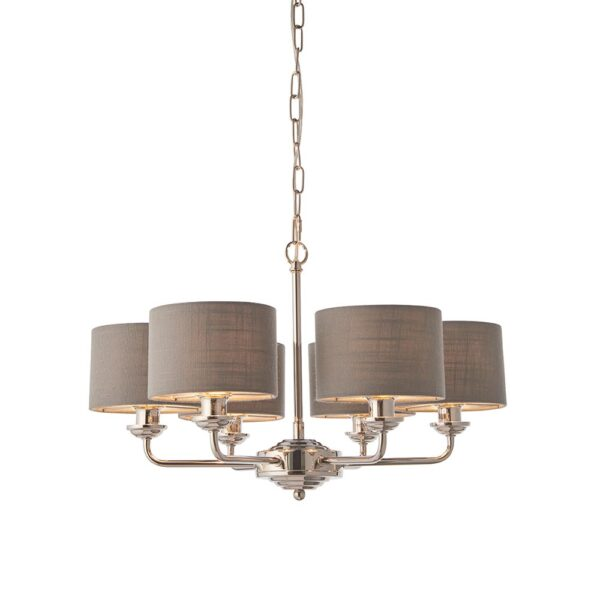 Endon Highclere Polished Nickel 6 Light Chandelier Charcoal Shades