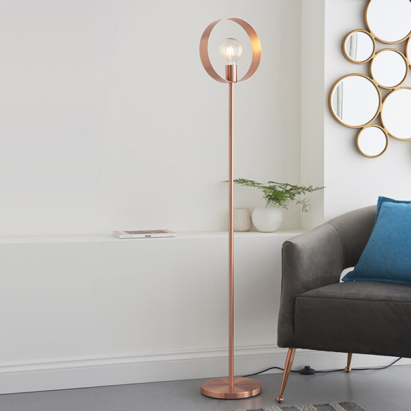 Hoop contemporary 1 light floor lamp in brushed copper main image