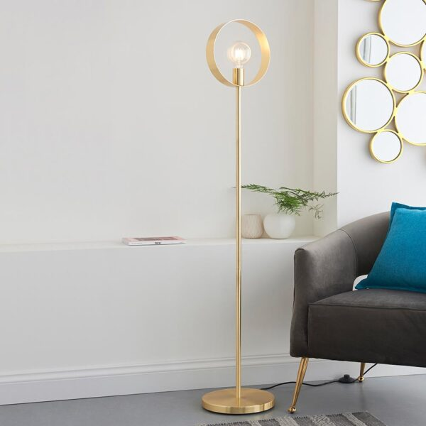 Hoop contemporary 1 light floor lamp in brushed brass main image