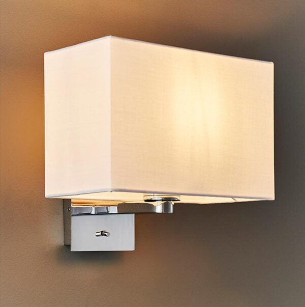 Endon Issac Switched Bedside Wall Light Chrome Vintage White Shade