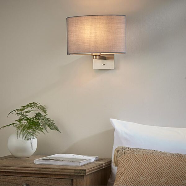 Endon Issac Switched Bedside Wall Light Matt Nickel Grey Oval Shade