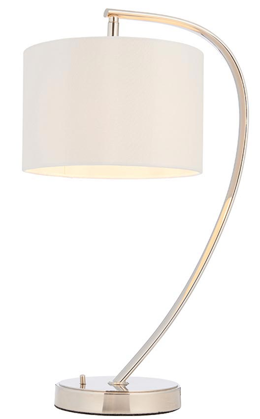 Endon Josephine Arc Small Table Lamp White Shade Polished Nickel