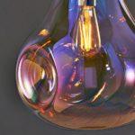 Endon Lava Large 1 Light Blown Iridescent Glass Ceiling Pendant Chrome