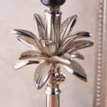 Leaf Large Candlestick Table Lamp Polished Nickel Dusky Pink Silk Shade