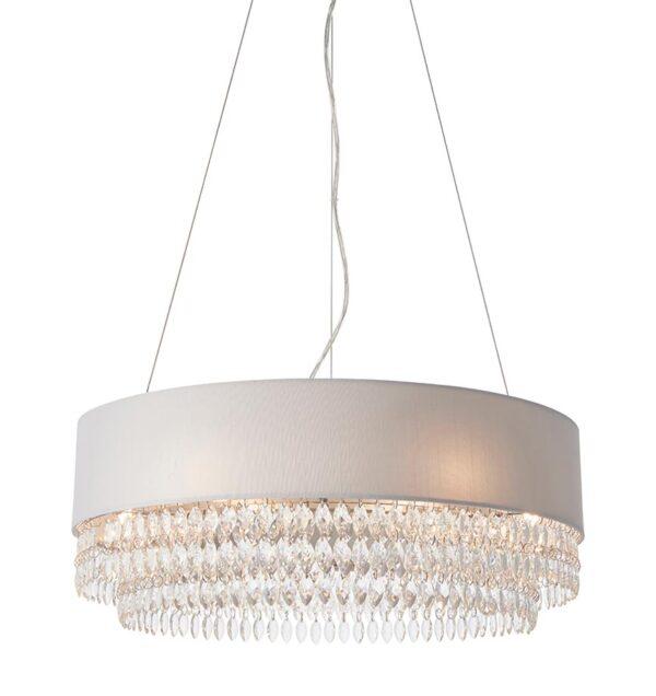 Malmesbury 6-light ceiling pendant grey silk shade and crystal drops main image
