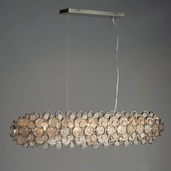 Endon Marella 8 Light Ceiling Pendant Polished Nickel Handmade Glass