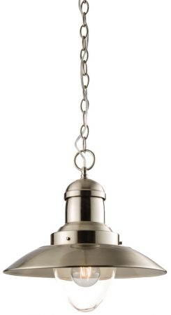 Mendip 1 Light Ceiling Pendant Satin Nickel Clear Glass