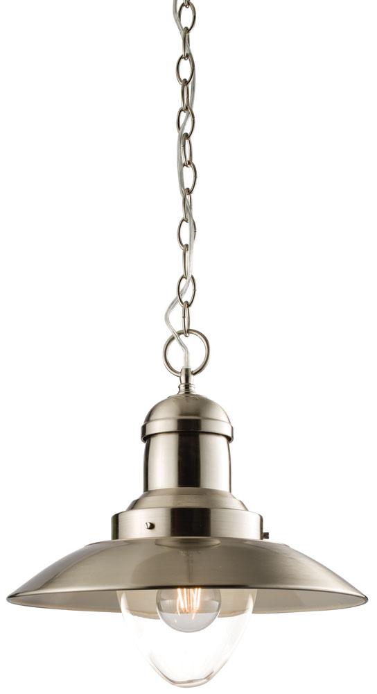 Mendip 1 Light Ceiling Pendant Satin Nickel Clear Glass