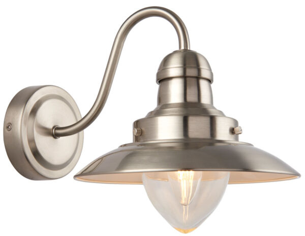 Mendip Single Wall Light Fitting Satin Nickel Clear Glass