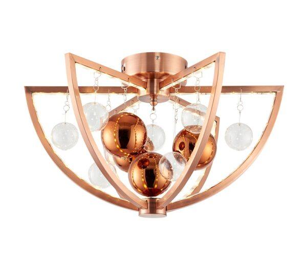 Endon Muni LED Modern Flush Mount Low Ceiling Light Polished Copper
