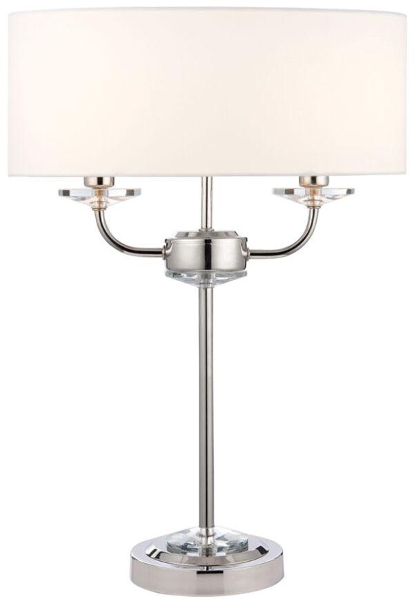 Nixon 2 Light Table Lamp Polished Nickel White Faux Silk Shade