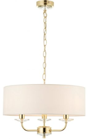 Nixon 3 Light Ceiling Pendant Polished Brass White Faux Silk Shade