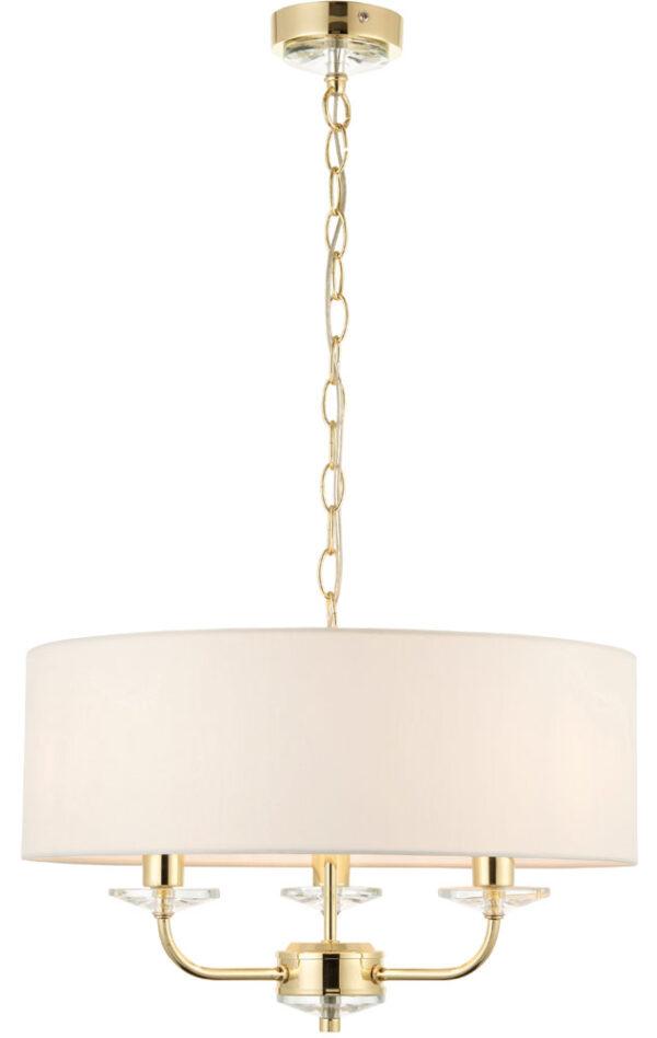 Nixon 3 Light Ceiling Pendant Polished Brass White Faux Silk Shade