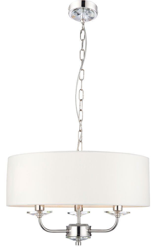 Nixon 3 light ceiling pendant polished nickel white faux silk shade