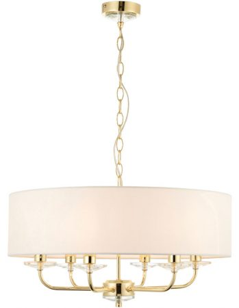 Nixon 6 Light Ceiling Pendant Polished Brass White Faux Silk Shade