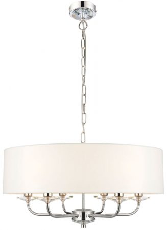 Nixon 6 Light Ceiling Pendant Polished Nickel White Faux Silk Shade