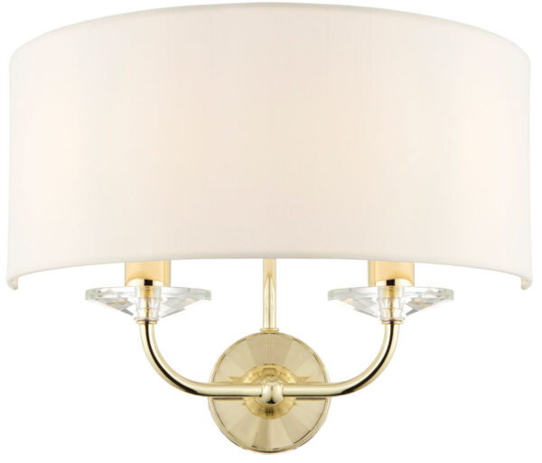 Nixon Twin Wall Light Fitting Polished Brass White Faux Silk Shade