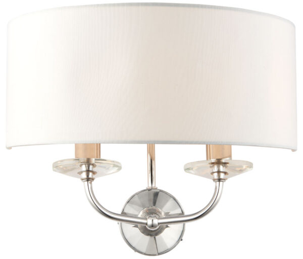 Nixon Twin Wall Light Fitting Polished Nickel White Faux Silk Shade