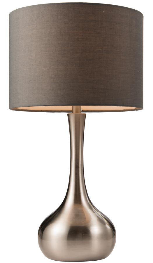 Endon piccadilly touch dimmer table lamp grey shade satin nickel