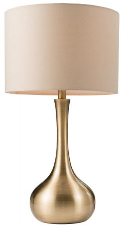 Endon Piccadilly Touch Dimmer Table Lamp Taupe Shade Soft Brass