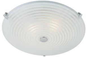 Endon Roundel 2 Light Flush Mount Ceiling Light Swirl Frosted Glass