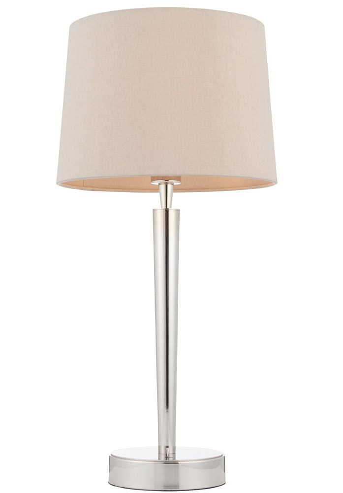 Endon Syon Feiss Table Lamp Usb Port Mink Shade Polished