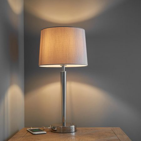Endon Syon Feiss Table Lamp USB Port Mink Shade Polished Nickel