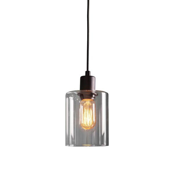 Endon Toledo 1 Light Modern Industrial Style Ceiling Pendant Matt Black