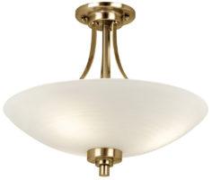 Endon Welles 3 Light Semi Flush Ceiling Light Antique Brass White Glass