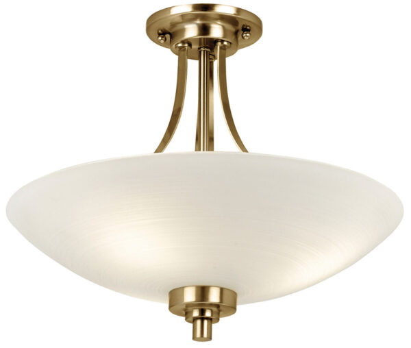 Endon Welles 3 Light Semi Flush Ceiling Light Antique Brass White Glass