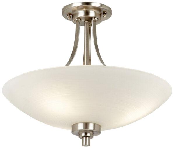Endon Welles 3 Light Semi Flush Ceiling Light Satin Chrome White Glass