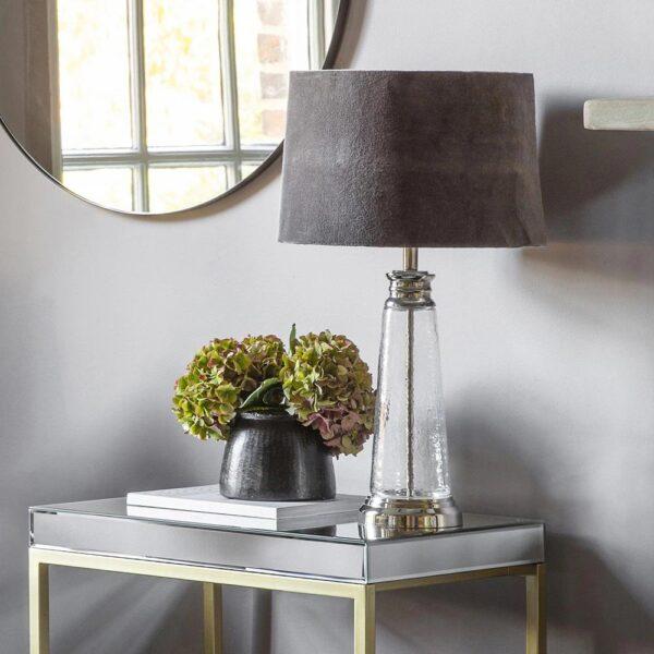 Endon Winslet clear hammered glass table lamp grey velvet shade main image
