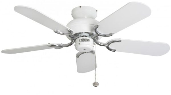 Fantasia Capri 36″ Ceiling Fan Without Light White / Stainless Steel