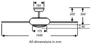 Fantasia Aero ceiling fan dimensions