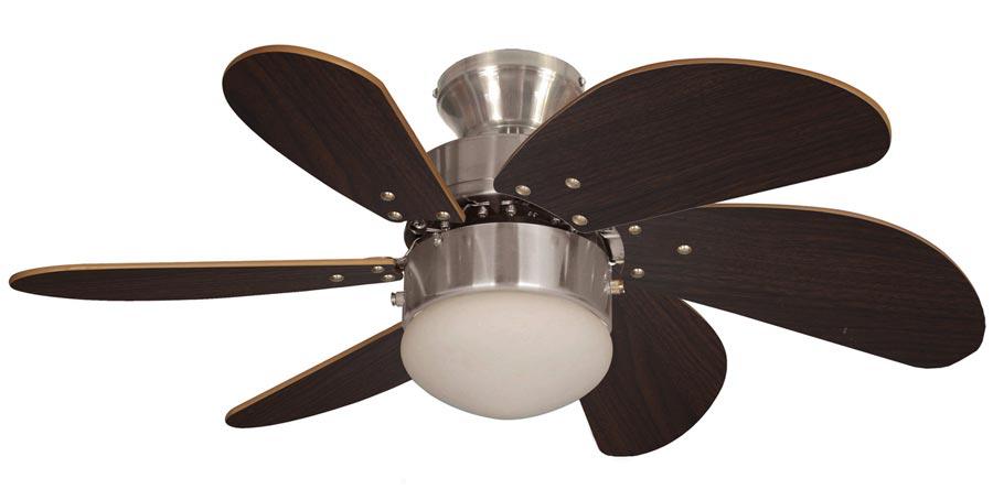 Fantasia Atlanta Small 30 Ceiling Fan Light Brushed Nickel Oak