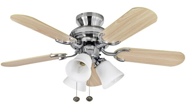 Fantasia Capri Combi 36″ Ceiling Fan Stainless Steel / Maple / Silver