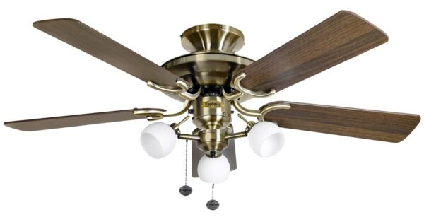 Fantasia Mayfair Combi 42″ Ceiling Fan Light Antique Brass / Dark Oak