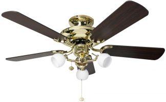 Fantasia Mayfair Combi 42″ Ceiling Fan Light Polished Brass / Oak