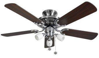 Fantasia Mayfair Combi 42″ Ceiling Fan Light Stainless Steel / Dark Oak