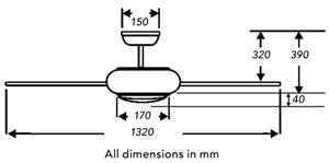 Fantasia prima ceiling fan dimensions