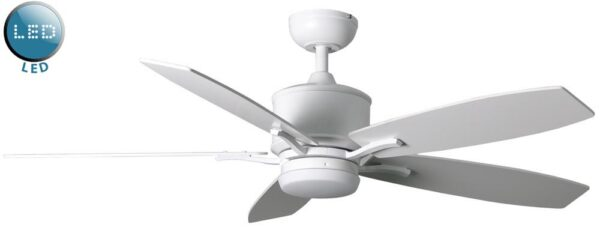 Prima 52″ Remote Control Ceiling Fan LED Light Matt White