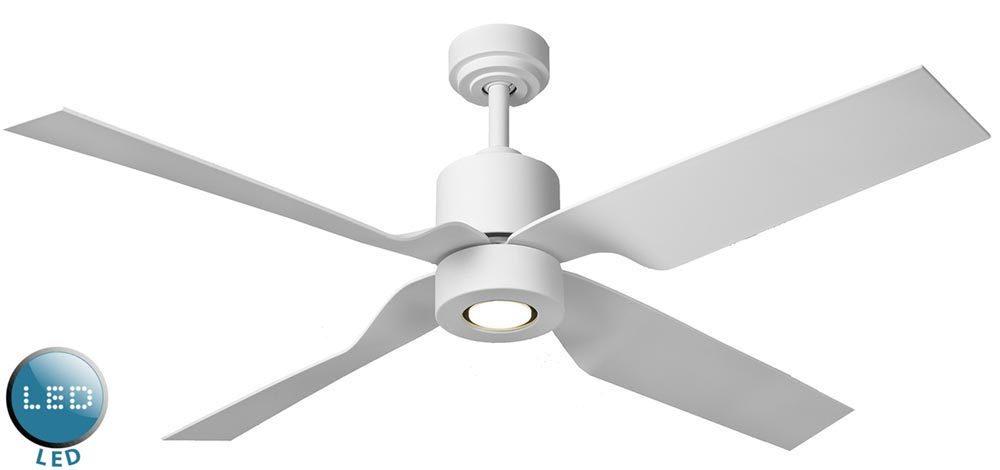 "Tau 50"" Remote Control Ceiling Fan LED Light Matt White 115762"