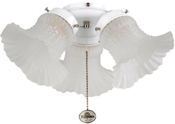 Fantasia Tulip Etched 3 Light Fan Light Kit Gloss White