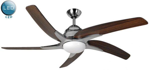 Fantasia Viper Plus Remote 54″ Ceiling Fan LED Stainless Steel / Dark Oak